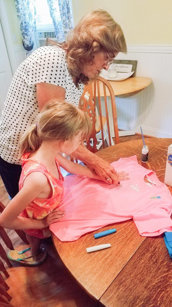 Hand print art with kids